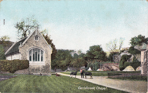 Carisbrooke Castle Chapel and donkeys