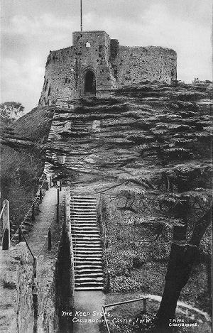 Carisbrook Castle keep steps